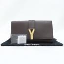 YSL(입생로랑) 311213 브라운 컬러 레더 Y라인 금장 로고 플랩 클러치 [강남본점]