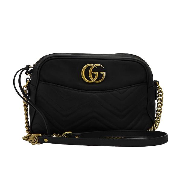 Gucci(구찌) 443499 GG 마몬트 블랙 마틀라쎄 쉐브론 인터로킹 골드메탈 스퀘어 집업 체인 크로스백 [잠실점]