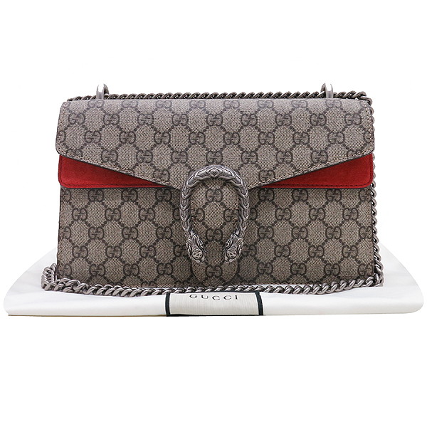 Gucci(구찌) 400249 GG 로고 캔버스 Dionysus(디오니소스) 타이거 헤드 레드 컬러 스웨이드 체인 숄더백 [인천점]