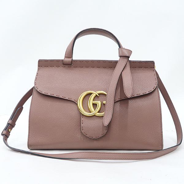 Gucci(구찌) 421890 엔틱로즈 컬러 GG Marmont(마몬트) 금장 로고 토트백 + 숄더스트랩 2WAY [잠실점]