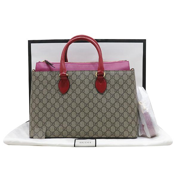 Gucci(구찌) 409533 핑크 레드 투톤 레더 GG 슈프림 캔버스 토트백 + 숄더 스트랩 [인천점]