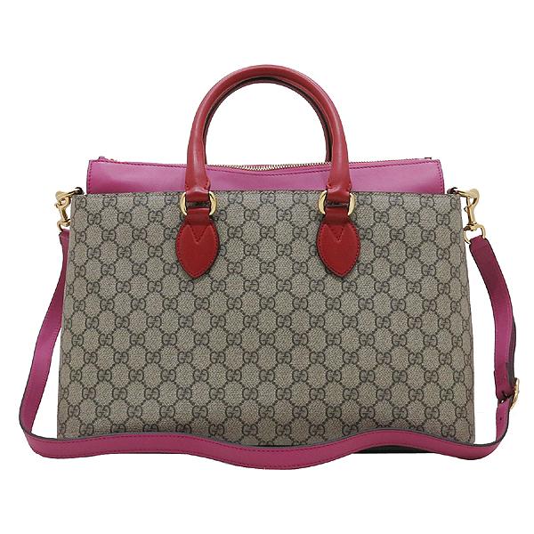 Gucci(구찌) 409533 핑크 레드 투톤 레더 GG 슈프림 캔버스 토트백 + 숄더 스트랩 [인천점] 이미지2 - 고이비토 중고명품