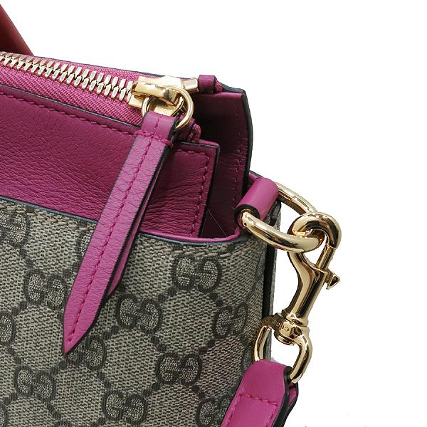 Gucci(구찌) 409533 핑크 레드 투톤 레더 GG 슈프림 캔버스 토트백 + 숄더 스트랩 [인천점] 이미지4 - 고이비토 중고명품