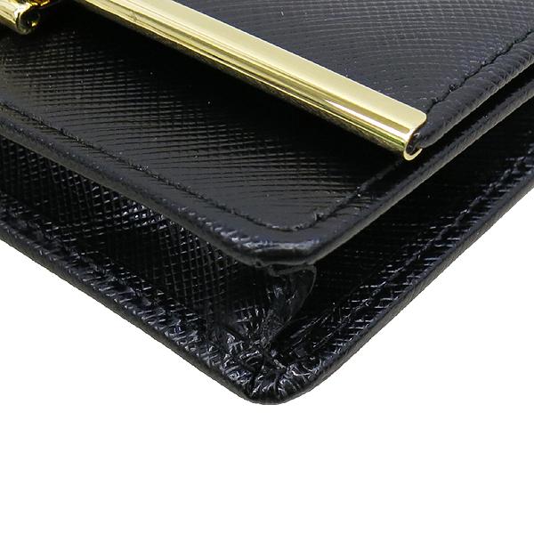 Ferragamo(페라가모) 22C110 블랙 레더 금장 간치니 장식 카드 겸 명함지갑 [강남본점]
