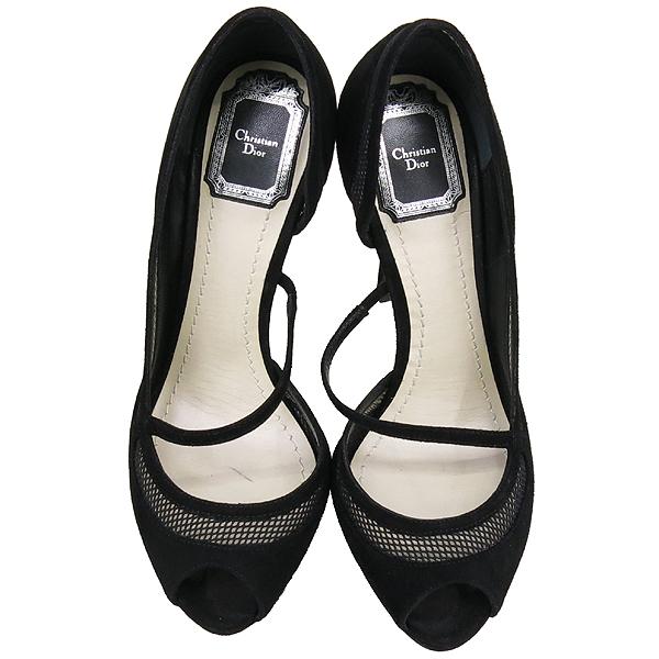Dior(크리스챤디올) 블랙 스웨이드 오픈토 여성용 구두 [강남본점]