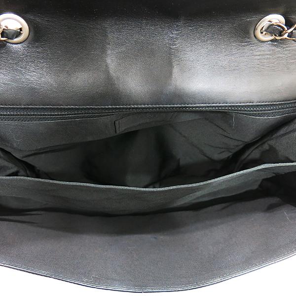 Chanel(샤넬) 블랙 레더 멀티 포켓 장식 빈티지 은장 락 장식 플랩 숄더백 [인천점]