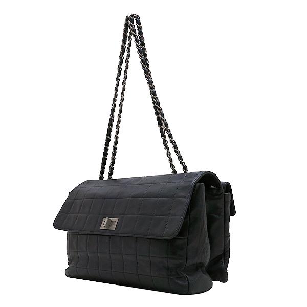 Chanel(샤넬) 블랙 레더 멀티 포켓 장식 빈티지 은장 락 장식 플랩 숄더백 [인천점] 이미지2 - 고이비토 중고명품