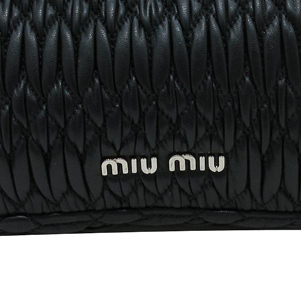 MiuMiu(미우미우) 5BD233 블랙 컬러 나파 레더 크리스탈 장식 클러치 겸 숄더백 [인천점]