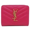 YSL(입생로랑) SAINTLAURENT PARIS(생로랑파리) 403723 핑크 레더 금장 YSL 로고 장식 집업 마틀라쎄 컴팩트 어라운드 중지갑 [인천점]