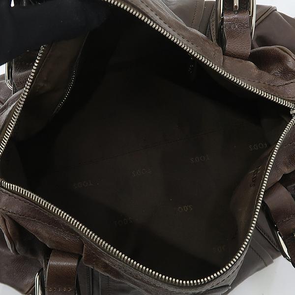 Tod's(토즈) 브라운 컬러 레더 은장 로고 장식 토트백 + 숄더스트랩 [강남본점] 이미지5 - 고이비토 중고명품