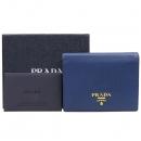 Prada(프라다) 1MV204 블루 사피아노 레더 금장 로고 반지갑 [강남본점]