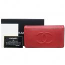 Chanel(샤넬) A48651 레드 컬러 캐비어스킨 TIMELESS(타임리스) COCO 로고스티치 플랩 장지갑 [강남본점]