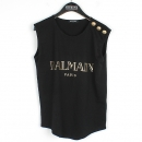 Balmain(발망) 블랙 컬러 금장 버튼 장식 로고 프린팅 여성용 슬리브리스 티셔츠 [강남본점]