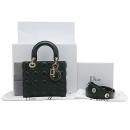 Dior(크리스챤디올) M0532OCAL 그린 컬러 램스킨 레더 까나쥬 LADY DIOR(레이디 디올) 라이트골드 참 장식 미니 토트백 + 숄더스트랩 2WAY [인천점]