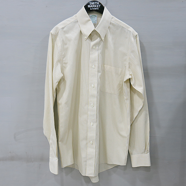 BROOKS BROTHERS(브룩스브라더스) 100% 옐로 블루 체크 코튼 남성용 셔츠 [부산센텀본점]