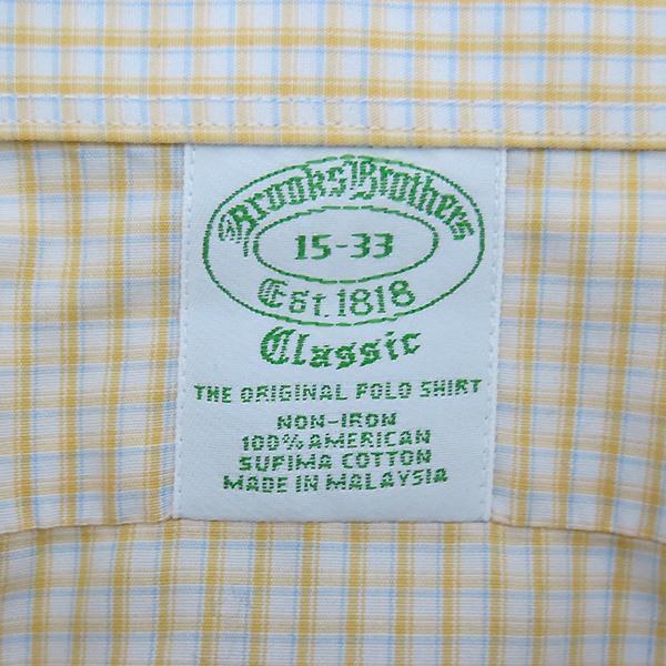 BROOKS BROTHERS(브룩스브라더스) 100% 옐로 블루 체크 코튼 남성용 셔츠 [부산센텀본점] 이미지4 - 고이비토 중고명품