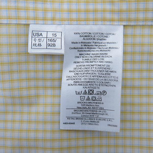 BROOKS BROTHERS(브룩스브라더스) 100% 옐로 블루 체크 코튼 남성용 셔츠 [부산센텀본점] 이미지6 - 고이비토 중고명품