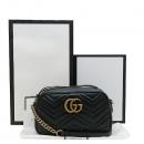Gucci(구찌) 447632 블랙 레더 GG Marmont(마몬트) 마틀라세 금장로고 체인 크로스백 [인천점]