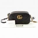 Gucci(구찌) 447632 블랙 레더 GG Marmont(마몬트) 마틀라세 금장로고 체인 크로스백 [잠실점]