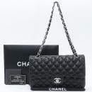 Chanel(샤넬) A01112 램스킨 블랙 컬러 클래식 M사이즈 은장 체인 플랩 숄더백 [강남본점]