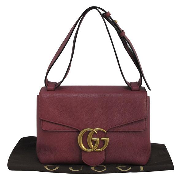Gucci(구찌) 401173 핑크로즈 컬러 레더 금장 마몬트 로고 플랩 숄더백 [대구반월당본점]