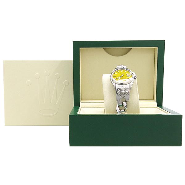 Rolex(로렉스) 1500 OYSTER PERPETUAL DATE 오이스터 퍼페츄얼 데이트 옐로우 다이얼 스틸 남여공용시계 + 925 실버 크롬하츠 밴드