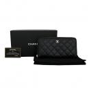 Chanel(샤넬) A50097 블랙 캐비어스킨 클래식 은장 로고 롱 지퍼 장지갑 [동대문점]