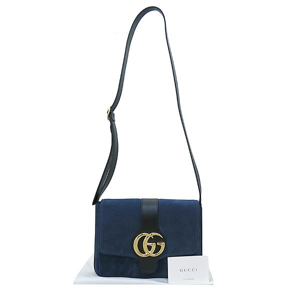 Gucci(구찌) 19S/S 크루즈컬렉션 550126 알리 네이비 벨벳 금장 GG로고 미디엄 숄더백 [부산센텀본점]