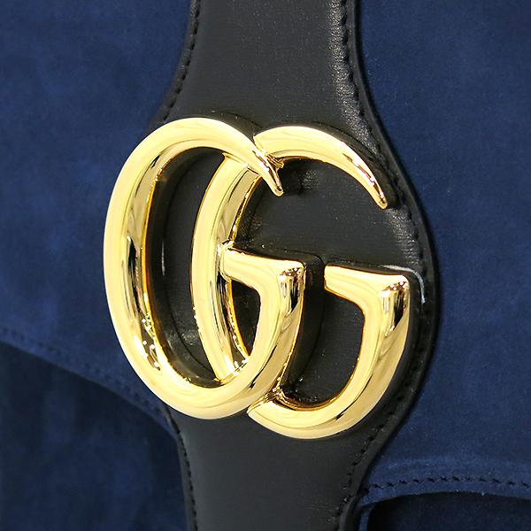 Gucci(구찌) 19S/S 크루즈컬렉션 550126 알리 네이비 벨벳 금장 GG로고 미디엄 숄더백 [부산센텀본점] 이미지4 - 고이비토 중고명품