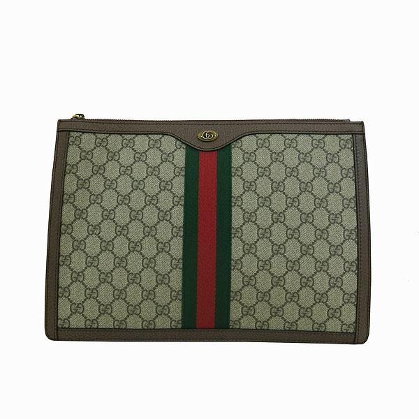 Gucci(구찌) 523359 GG 로고 장식 브라운 레더 PVC 트리밍 클러치백 [대구동성로점]