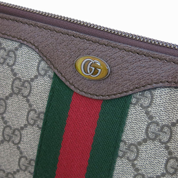 Gucci(구찌) 523359 GG 로고 장식 브라운 레더 PVC 트리밍 클러치백 [대구동성로점] 이미지3 - 고이비토 중고명품