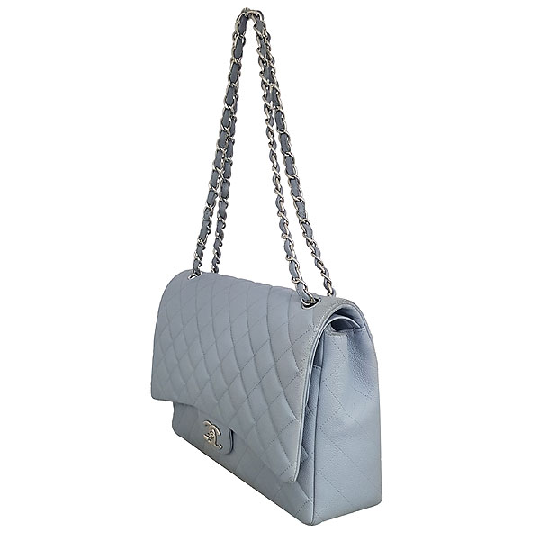 Chanel(샤넬) A58601Y07525 스카이블루 캐비어스킨 클래식 맥시 사이즈 은장 체인 숄더백 [동대문점] 이미지3 - 고이비토 중고명품