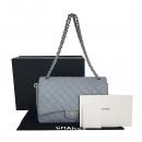 Chanel(샤넬) A58601Y07525 스카이블루 캐비어스킨 클래식 맥시 사이즈 은장 체인 숄더백 [동대문점]