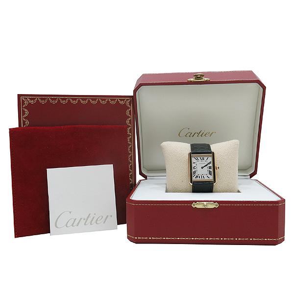 Cartier(까르띠에) W5200025 18K 옐로우 골드 스피넬 장식 탱크 솔로 남성용 쿼츠 레더 밴드 시계 [인천점]