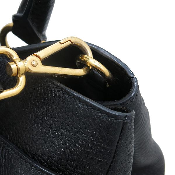 Prada(프라다) BR4393 VIT.DAINO (비텔로다이노) NERO 블랙 레더 금장 로고 토트백 + 숄더스트랩 [인천점] 이미지4 - 고이비토 중고명품