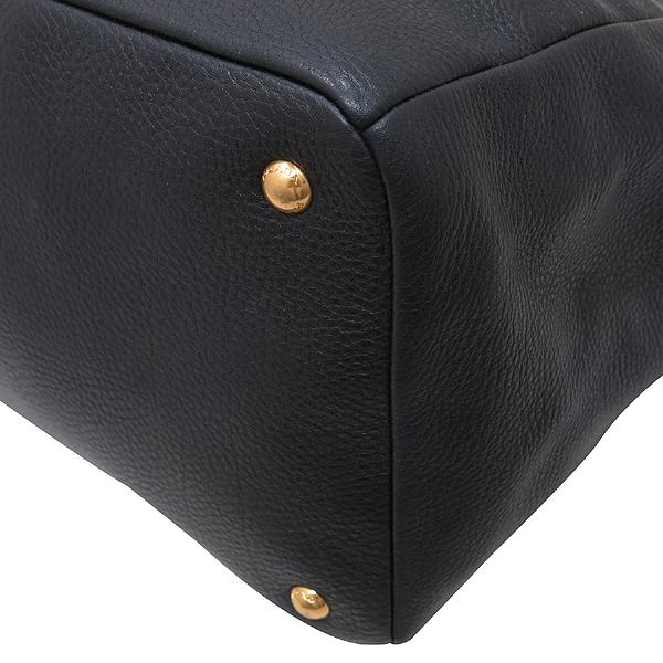 Prada(프라다) BR4393 VIT.DAINO (비텔로다이노) NERO 블랙 레더 금장 로고 토트백 + 숄더스트랩 [인천점] 이미지5 - 고이비토 중고명품