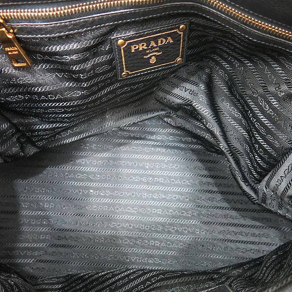 Prada(프라다) BR4393 VIT.DAINO (비텔로다이노) NERO 블랙 레더 금장 로고 토트백 + 숄더스트랩 [인천점] 이미지6 - 고이비토 중고명품