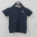 Burberry(버버리) 네이비 컬러 100% 면 체크 견장 장식 아동용 반팔 티셔츠 [부산센텀본점]