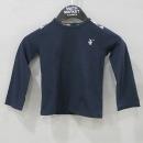 Burberry(버버리) 네이비 컬러 100% 면 체크 견장 장식 아동용 긴팔 티셔츠 [부산센텀본점]