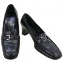 Ferragamo(페라가모) 블랙 컬러 레더 은장 로고 장식 여성용 구두 [강남본점]