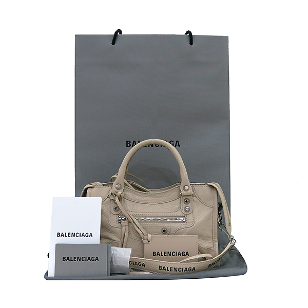 Balenciaga(발렌시아가) 300295 19 S/S 은장 베이지 컬러 미니 시티  2WAY [부산센텀본점]