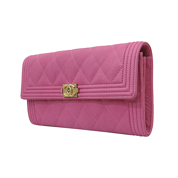 Chanel(샤넬) A80286Y836215B648 금장 보이 핑크 그레인드 카프스킨 장지갑 [부산센텀본점] 이미지3 - 고이비토 중고명품