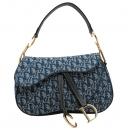 Dior(크리스챤디올) 블루 컬러 자가드 골드 로고 장식 새들 숄더백 [인천점]