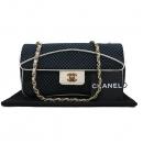 Chanel(샤넬) 네이비 컬러 패브릭 금장 메탈 COCO 락 장식 화이트 레더 트리밍 체인 숄더백 [인천점]