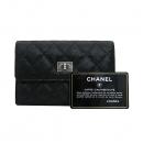 Chanel(샤넬) 빈티지 은장 블랙 캐비어 스킨 금장 로고 중지갑 [부산센텀본점]