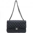 Chanel(샤넬) A58600 캐비어스킨 블랙 클래식 점보 L사이즈 은장 로고 체인 플랩 숄더백 [강남본점]