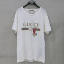Gucci(구찌) 18SS 493117 화이트 구찌 로고 프린트 레빗 반팔 남성용 티셔츠 [부산센텀본점]