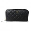 Chanel(샤넬) A48982 블랙 캐비어스킨 COCO로고 집어라운드 오거나이저 장지갑 [대전본점]