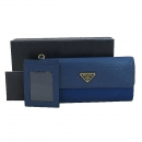 Prada(프라다) 1M1037 금장 로고 블루 투톤 패브릭 비텔로 무브 혼방 스냅 장지갑+체인카드지갑 [대구동성로점]