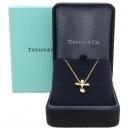 Tiffany(티파니) 18K(750) 옐로우 골드 물방울 크로스 목걸이 [강남본점]